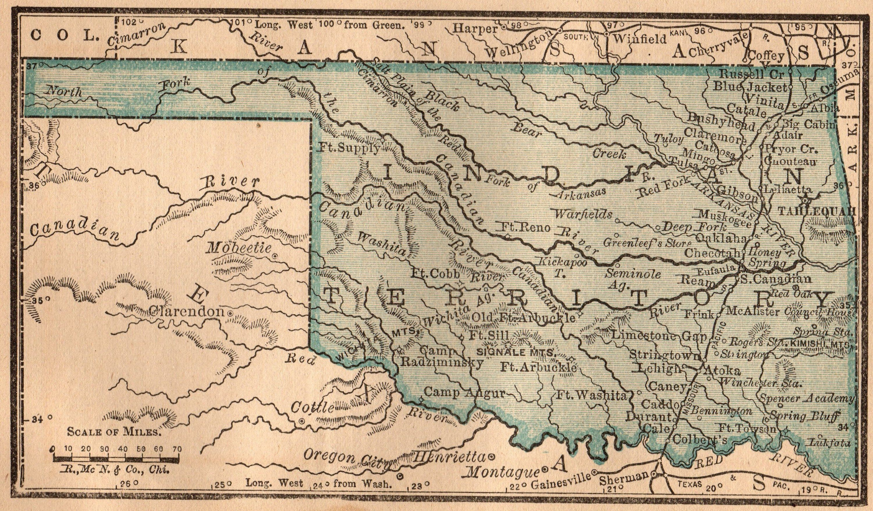 1888 Antique INDIAN Territory Map Vintage Miniature Oklahoma Map