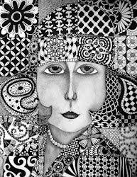 Free Print Zentangle Faces | Found on penandinkbyrebeccaanthony.blogspot.com