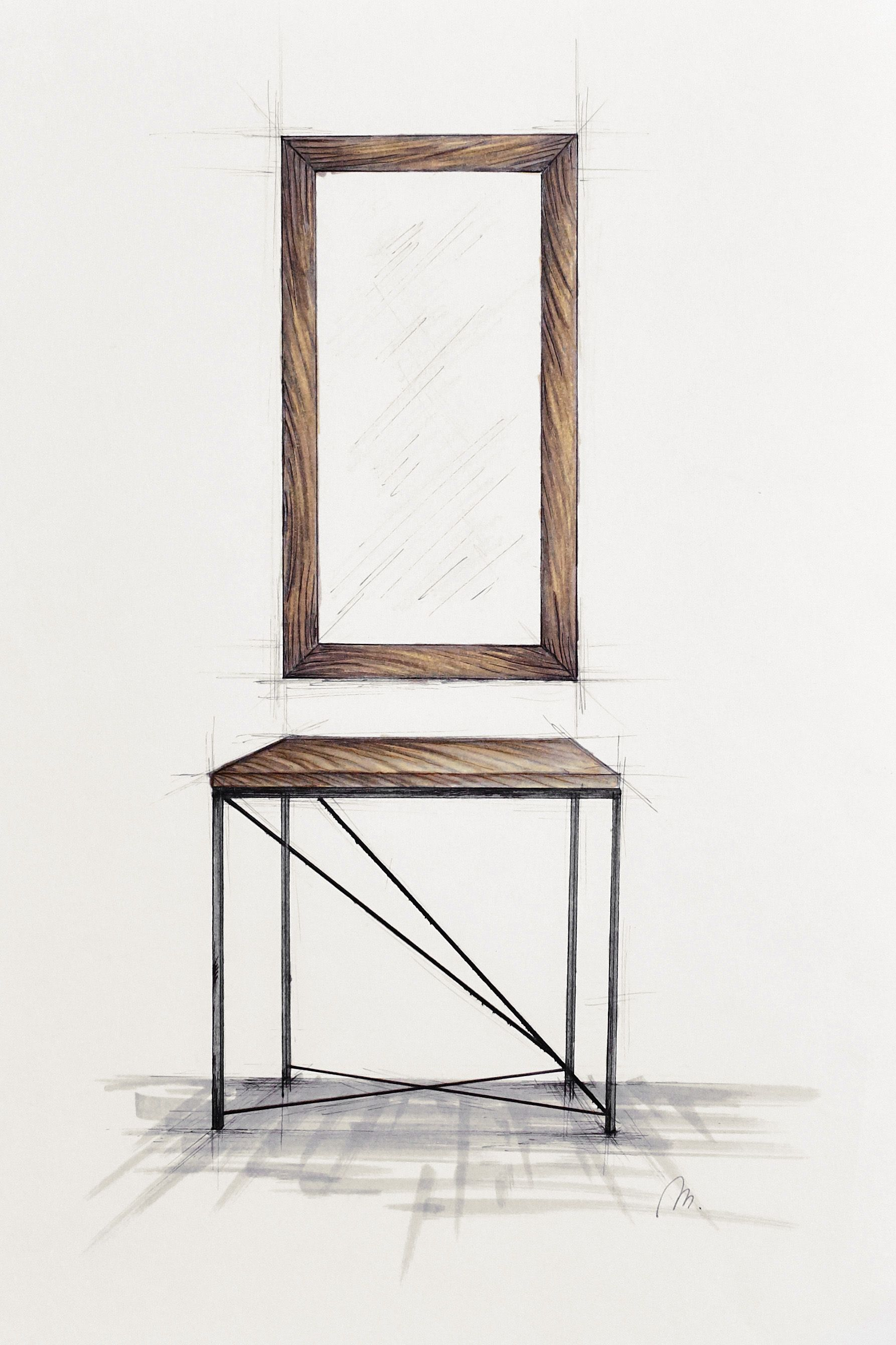 Handcrafted, Small Dressing Table With Metal Legs And Mirror In