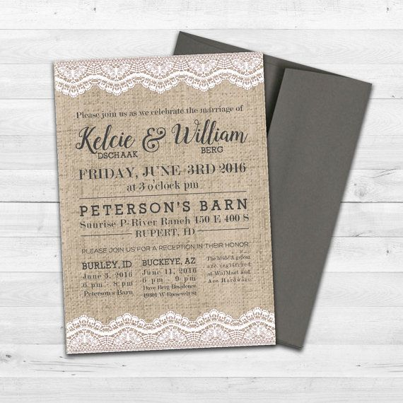 Burlap and Lace Wedding Invitation  Wedding by ChynnaHansenDesigns