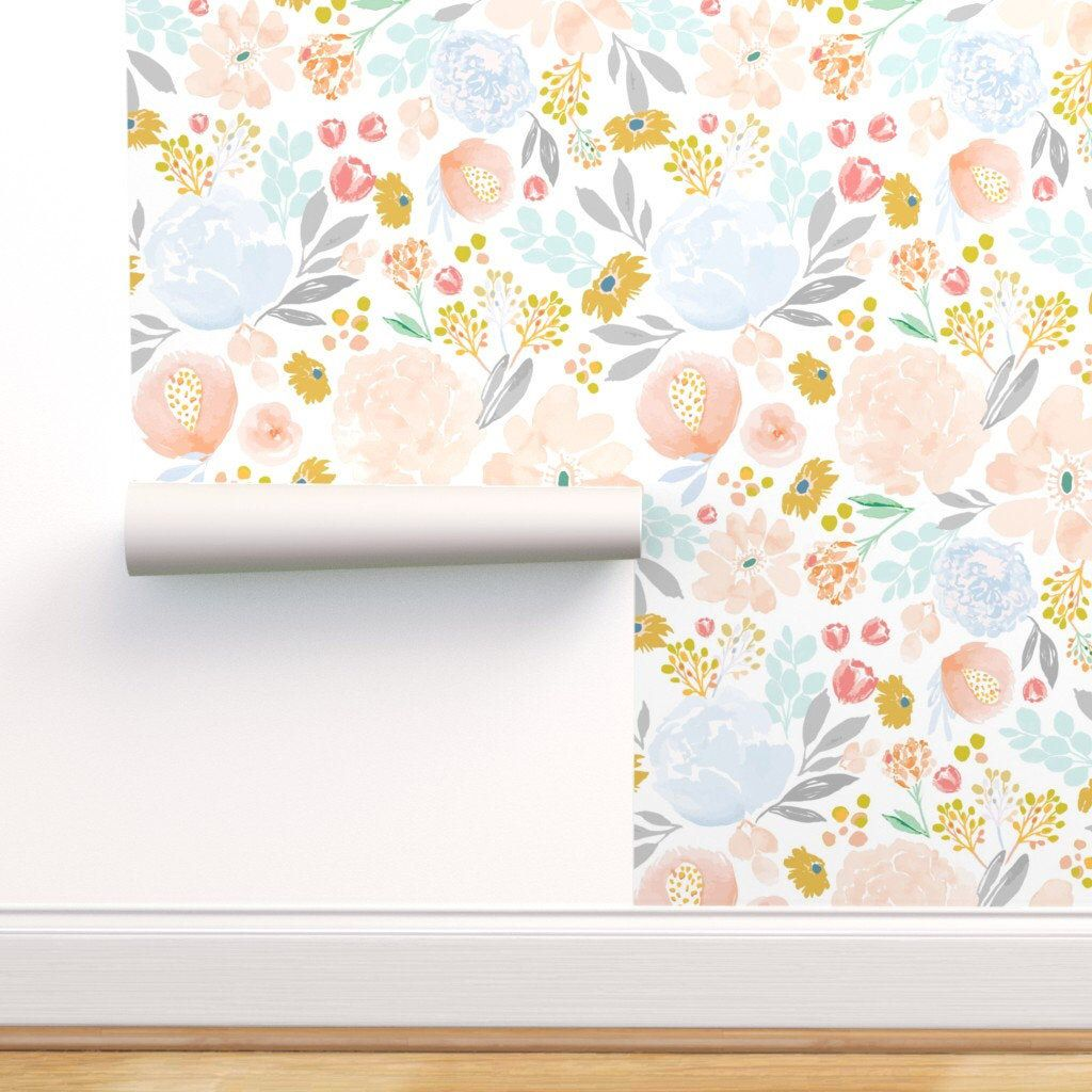 Floral Wallpaper Ibd Sweet Spring Pastels By Indybloomdesign Etsy In 2020 Floral Wallpaper Self Adhesive Wallpaper Spring Pastels