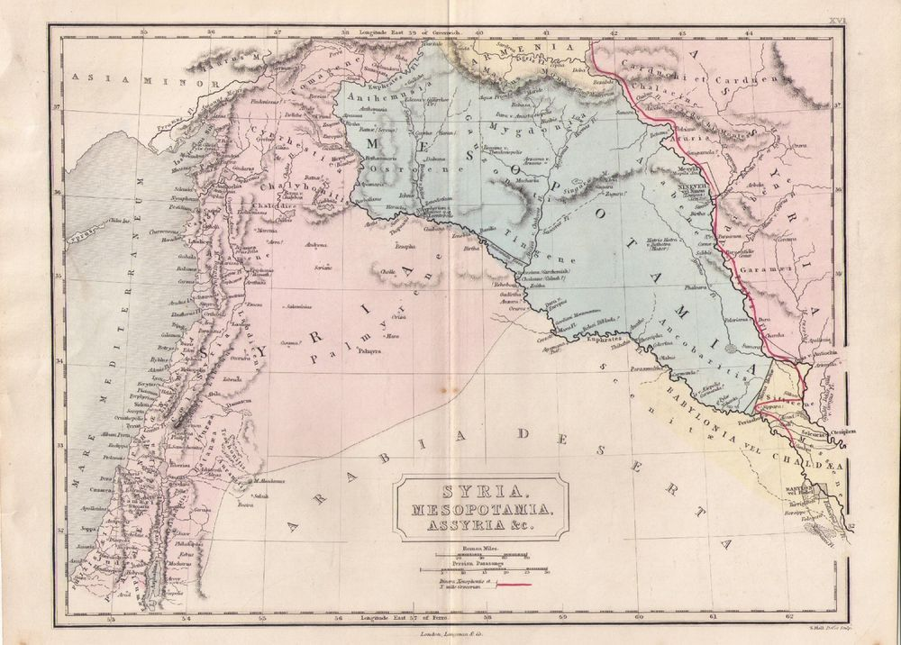 Map showing SYRIA MESOPOTAMIA ASSYRIA GOOD CONDITION