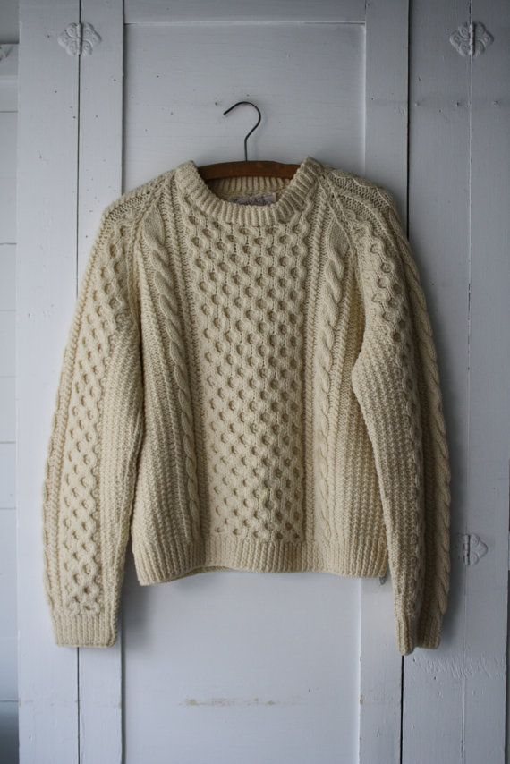 Vintage wool fishermans sweater | Vintage wool, Aran sweaters and ...