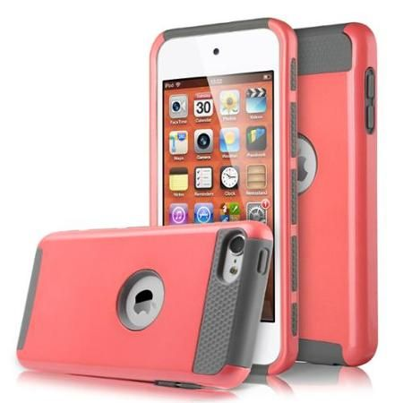 ULAK iTouch 5 6 Case, [Colorful Series] 2-Piece Style Hybrid Shockproof Hard Shell Cover for Apple iPod touch 5 6th Generation (Coraly Pink + Gray)