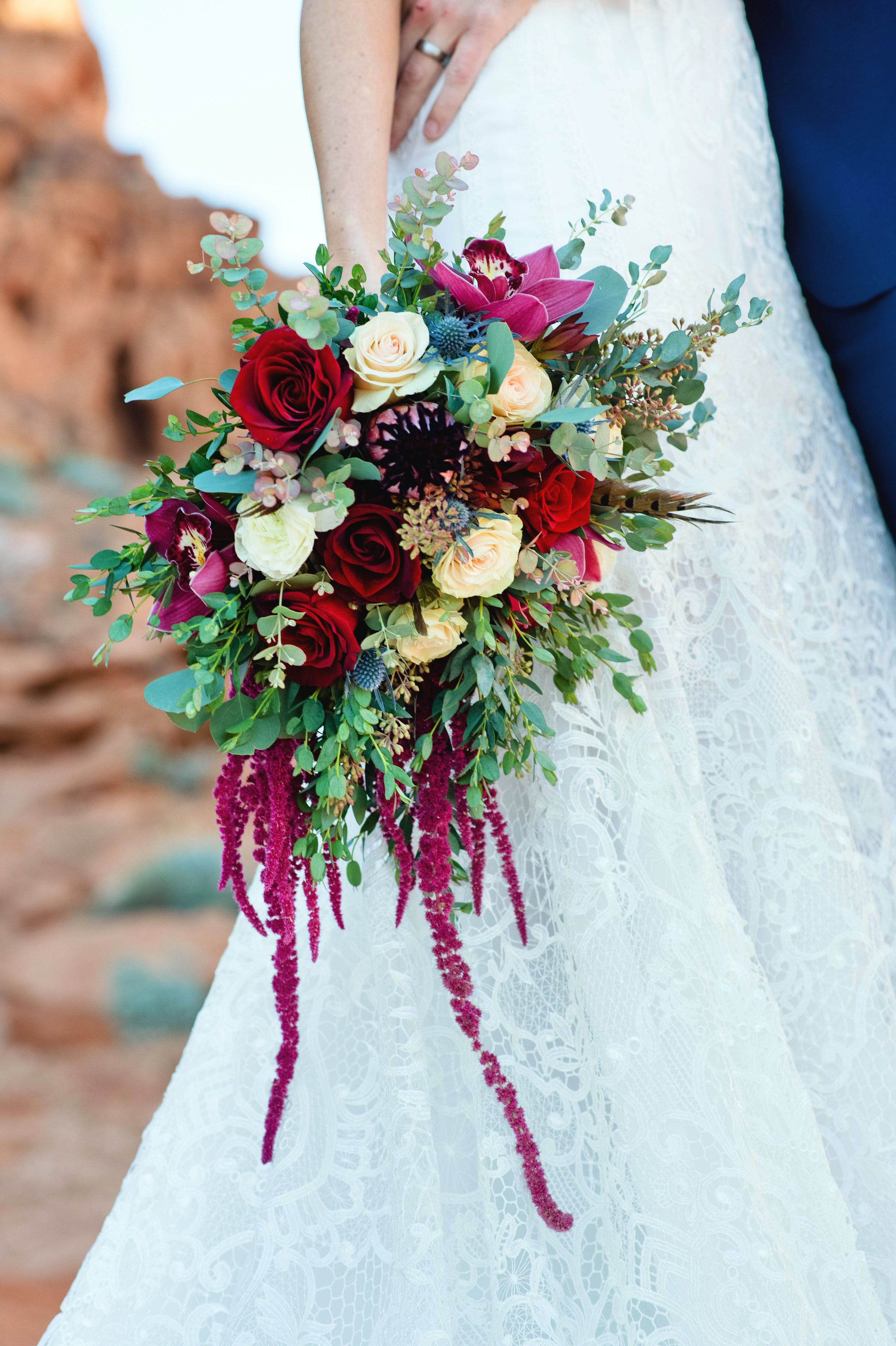 Bohemian Bouquet Roses and Proteas hypericum berries pheasant