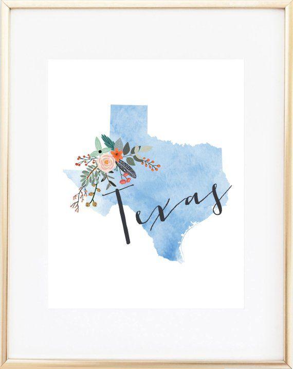 6d74aeef Texas Print / Texas Decor / Texas Gift / Texas Art / Texas ...