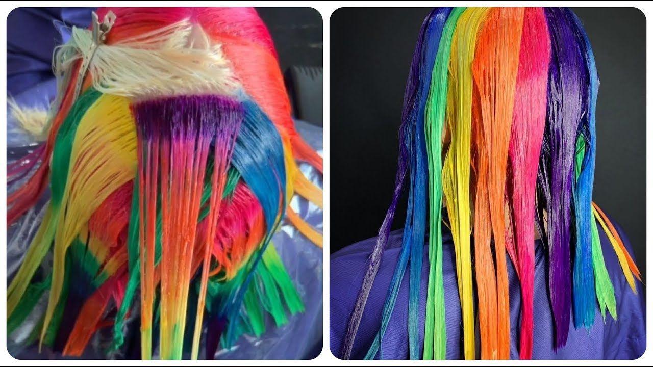 Colorful Hair Ideas Rainbow Color Hair Transformation Hairstyle Tutorials Compilations 10 Hair Transformation Hair Color Rainbow Hair