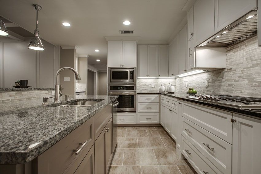 Inspirational White Cabinets with Brown island