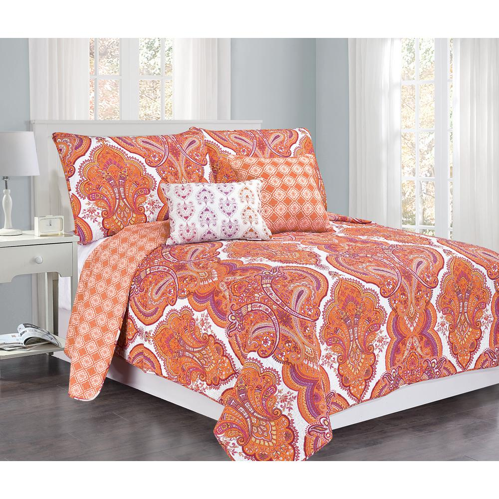 Brilliance Paisley Full Queen Orange Coral With Pillow 5 Piece