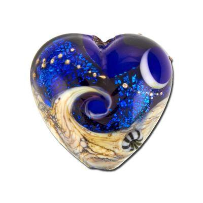 19mm handmade cobalt celestial lampwork glass heart beads by grace lampwork