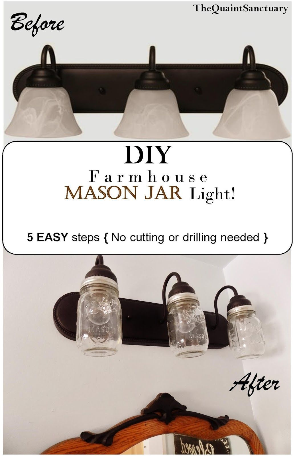 The Quaint Sanctuary: { DIY F a r m h o u s e Bathroom Light ...
