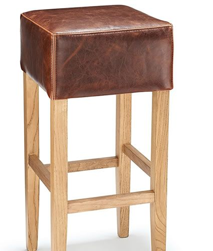 Rhone Tan Aniline Real Leather Rustic Oak Bar Stool No Back
