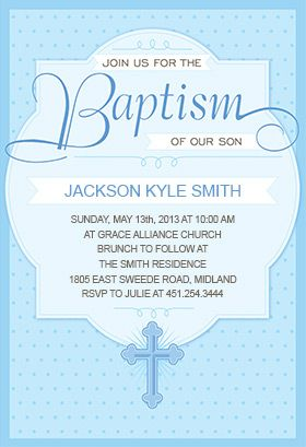 Dotted Blue Printable Invitation Customize Add Text And Photos Print For Free Baptism Christening