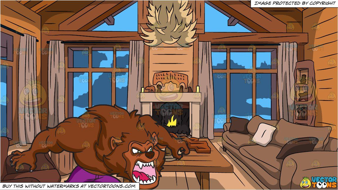 Photo of An Angry Werewolf and Wood Cabin Living Room Background