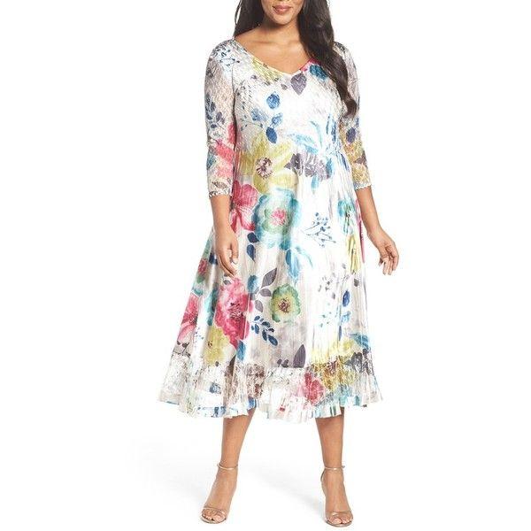 Plus Size Women s Komarov Lace & Charmeuse A Line Midi Dress 9 185