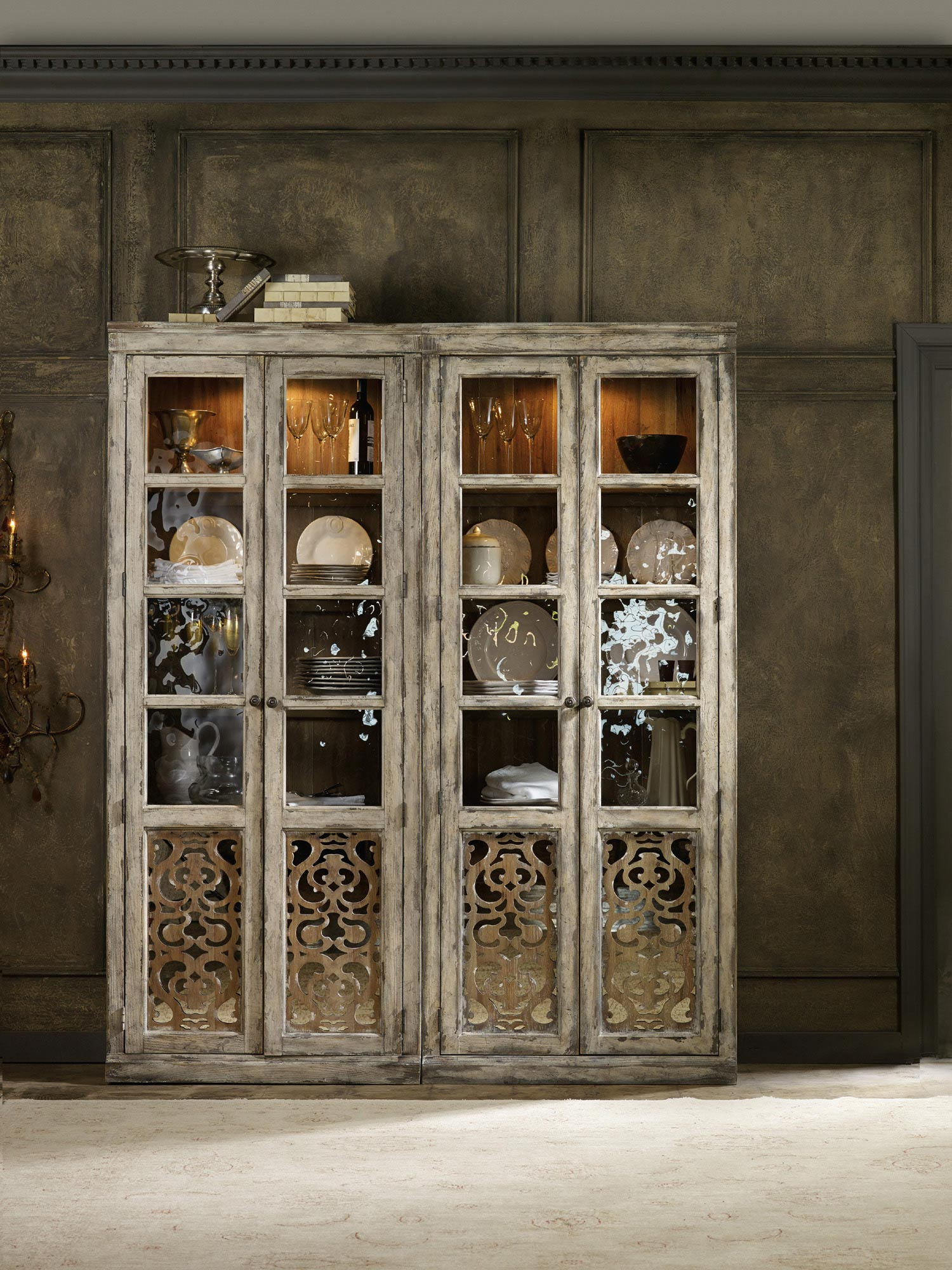 chatelet two door bunching curio hooker furniture home gallery
