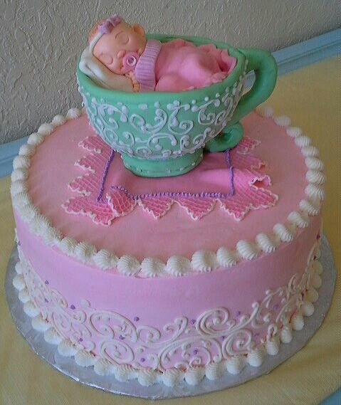 Teacup Baby Shower Cake For A Tea Party