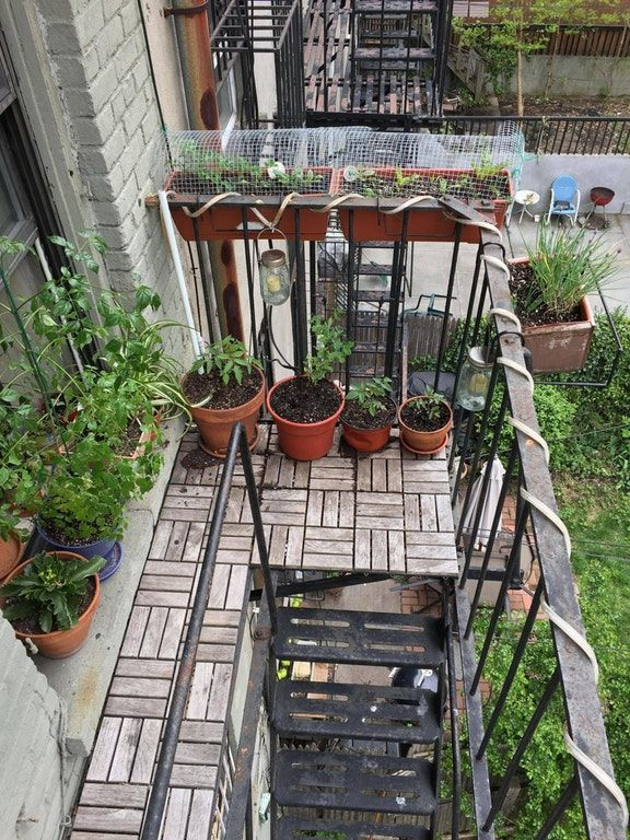 Fire escape - put ikea wood tiles down on ground and ...