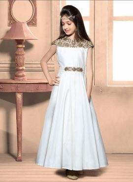 97802df3f1 Designer Taffeta Silk White Birthday Wear Gown For Young Girl ...