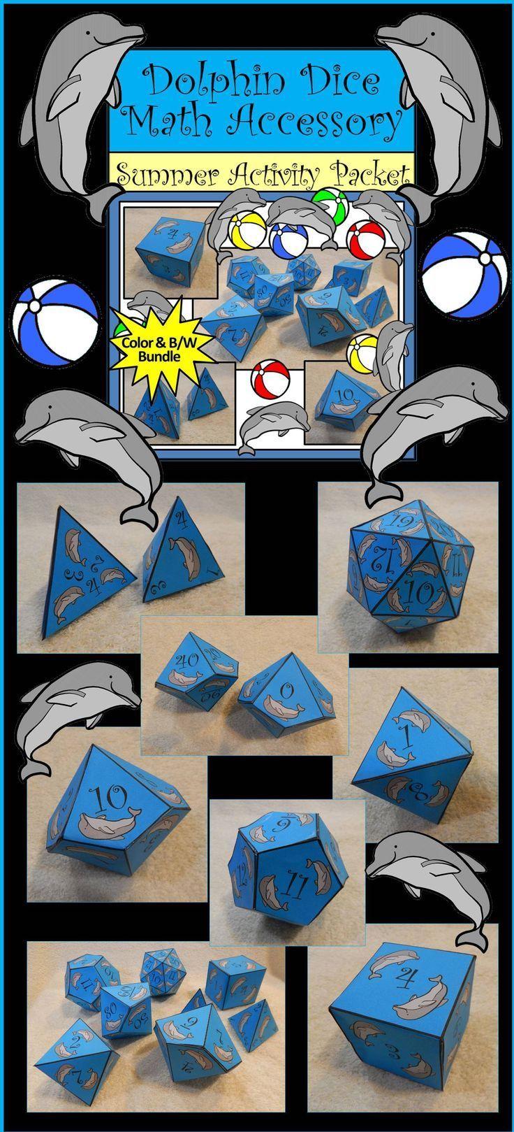 Summer Math Activity: Dolphin Dice Templates Math Activity Packet ...