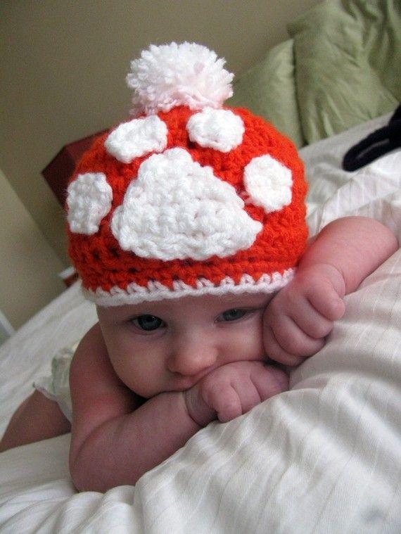 Tiger Paw Crocheted Hat | Clemson baby! | Pinterest