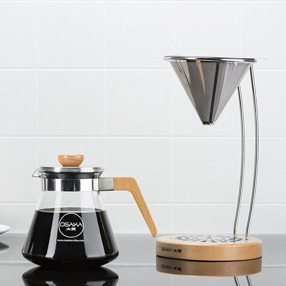 PourOver Coffee Dripper with Natural Wood Stand (With