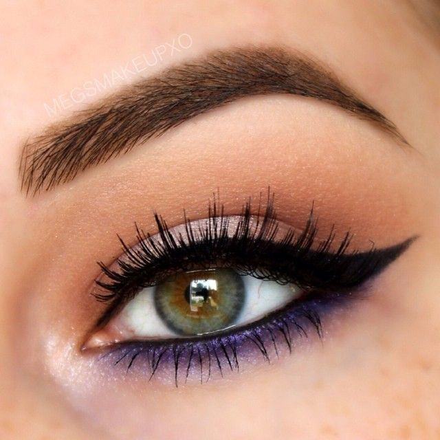 Purple And Black Eyeliner With Eyeshadow For Hazel Eye Makeup