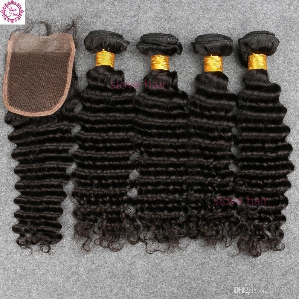 8a Mink Brazilian Deep Wave With Closure 4 Bundles Curly Wavy Human