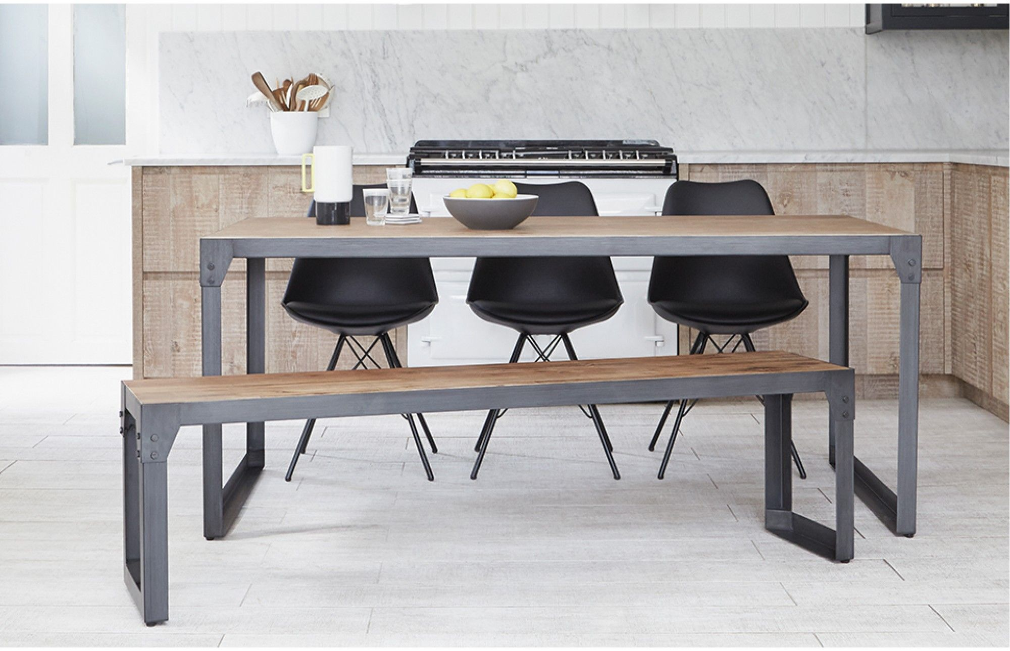 Captivating Combine The Iconic Eames Style Bucket Chair In Black With The Brunel Industrial  Dining Table And Bench To Create An Original And Practical Dining Set For  ...