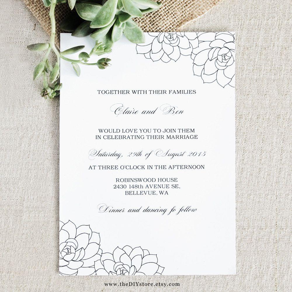 Succulent Wedding Invitation Diy Digital Printable By Thediystore