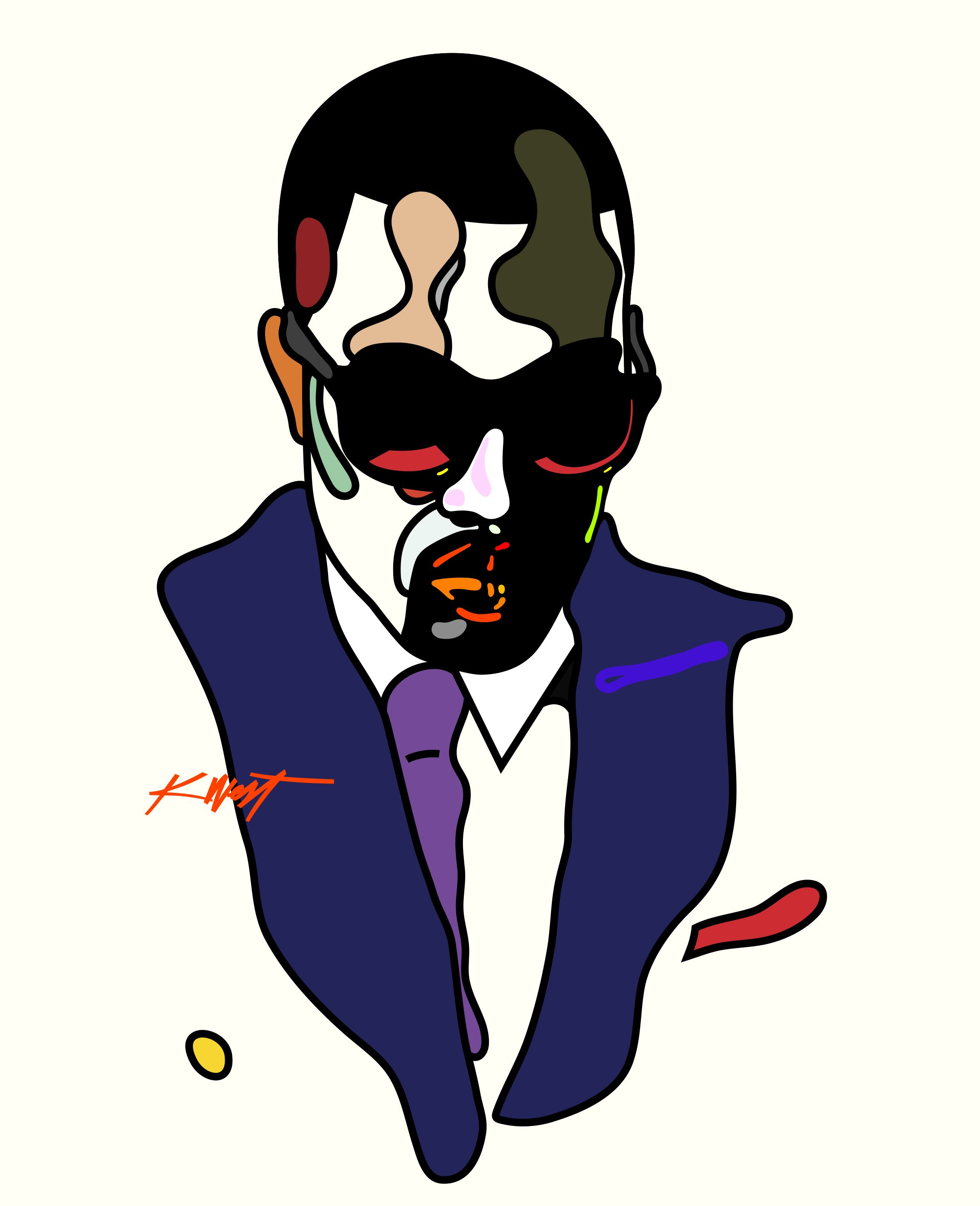 Kanye West from the Rap Face series. By Magnus Voll Mathiassen.