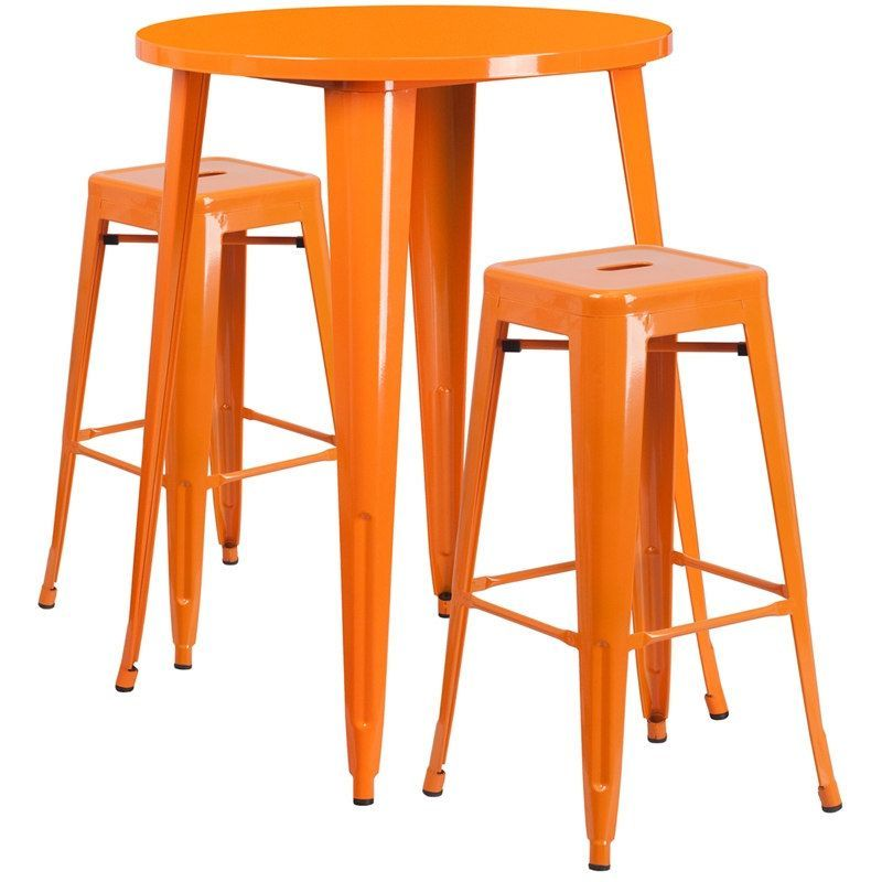 ihome nicollet round 30 orange metal table set w 2 square seat