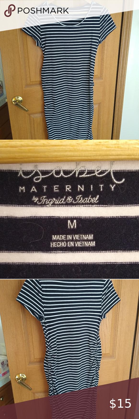 Isabel Maternity Dress - Medium Striped Short Sleeve T-Shirt Maternity Dress - Isabel Maternity Navy