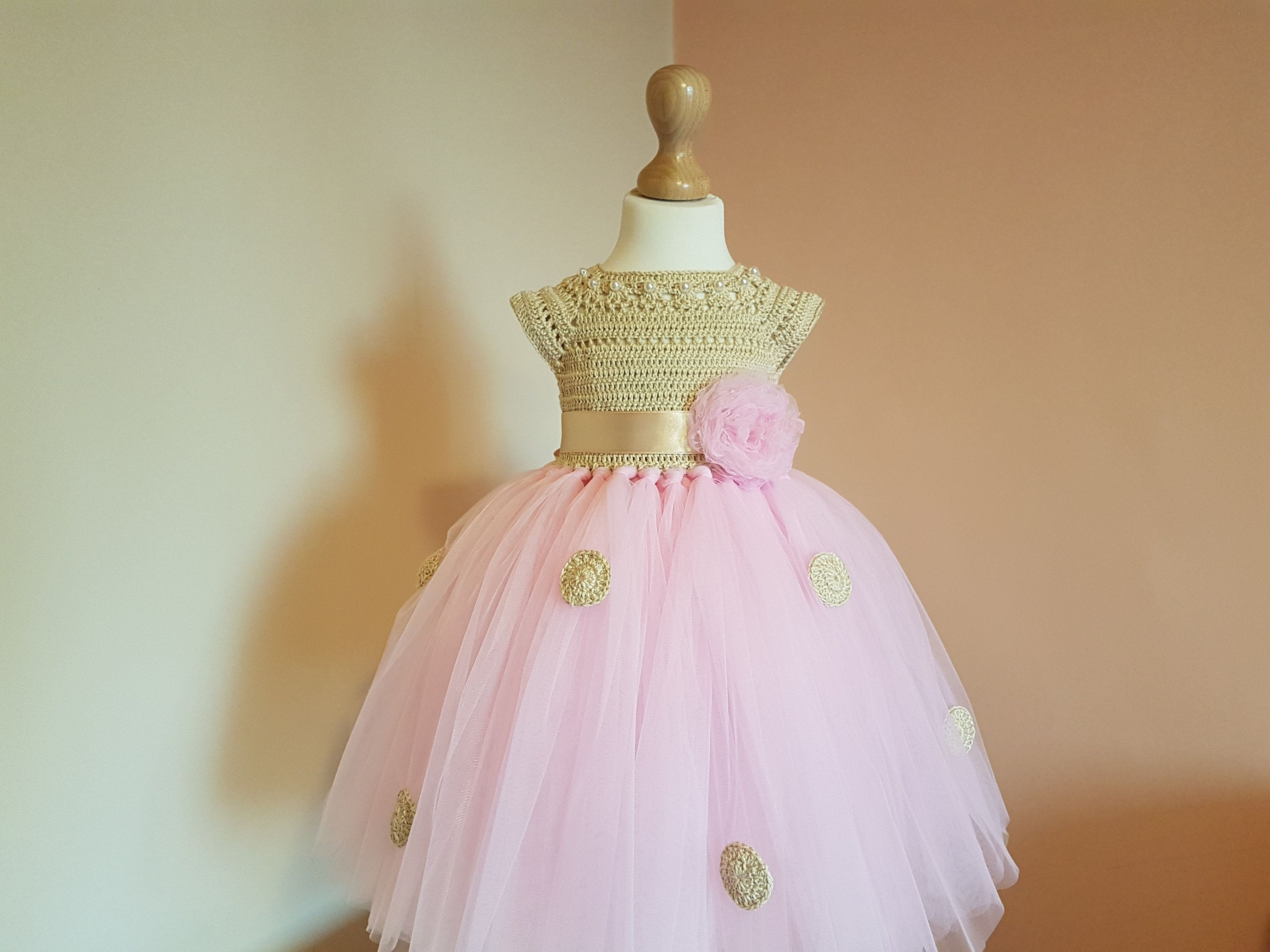 Pink and gold dress for kids  MINNIE MOUSE tutu dress pink and gold tutu dress crochet dress