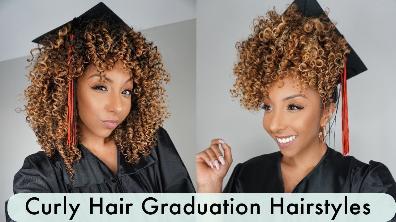 Curly Graduation Cap Hairstyles! Easy Hack! | BiancaReneeToday | Kappen