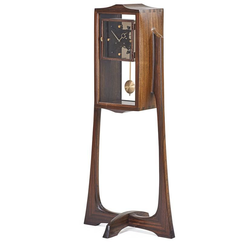 Roger Heitzman, Case Clock, Laminated wood, glass, brass plated metal, USA, 1983 #Caseclock