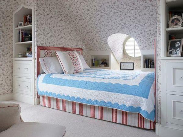 GestaltungsideenSchlafzimmermitDachschrgeeingebautesbett  Dach  Schlafzimmer dachschrge