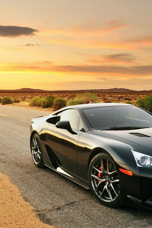 Elegant 640x960 Black Lexus LFA Desert Road Iphone 4 Wallpaper