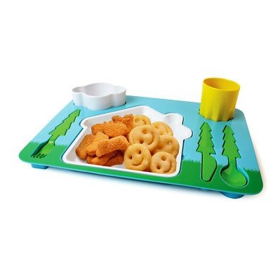 this colourful all in one melamine tray includes a plate cup dessert