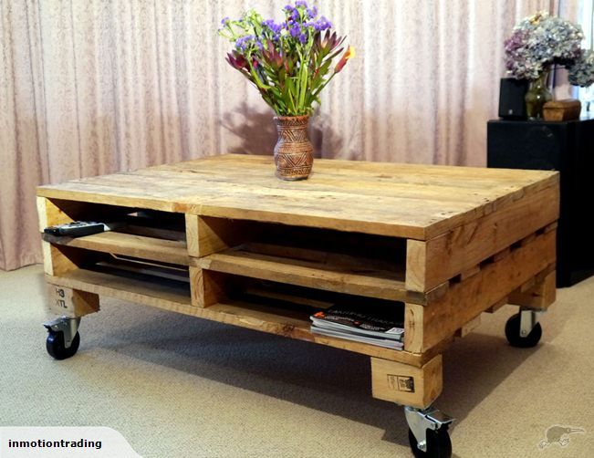PALLET TABLE ON CASTORS WITH MAGAZINE RACKS Trade Me
