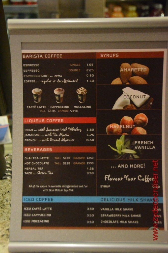 Coffee Bar Menu Vanilla drinks, Carnival breeze, Jameson