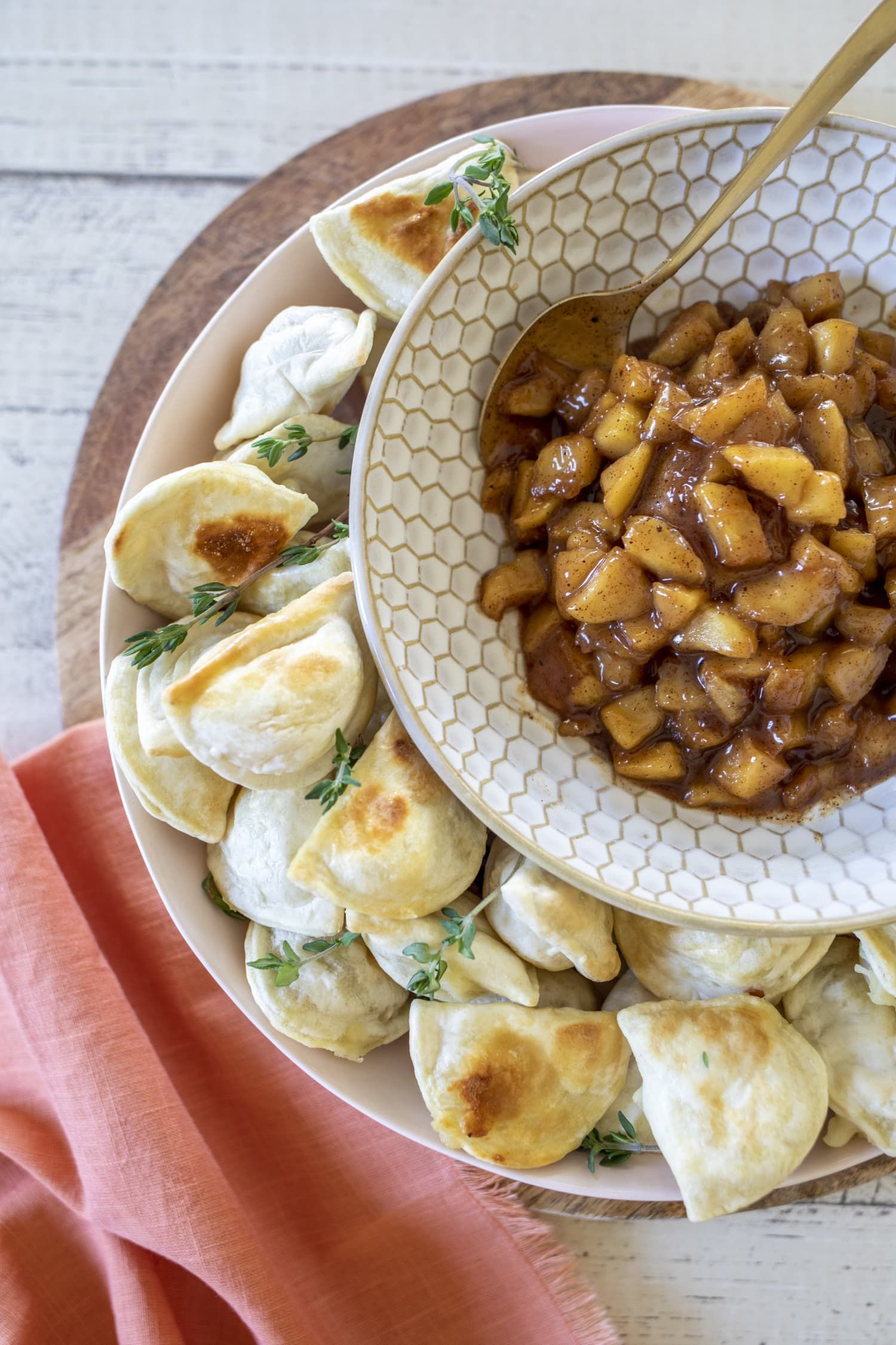Air Fryer Mini Pierogies with Warm Apple Pie Dip Is the