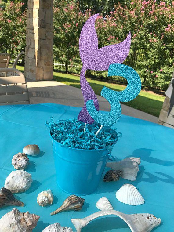 Mermaid Tail Centerpiece Sticks Table Decorations Little Birthday