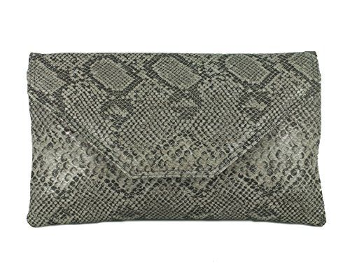 Loni Womens Stylish Large Envelope Faux Snakeskin Clutch Bag Shoulder Bag in  Dark Red bdeaf82a05f5b