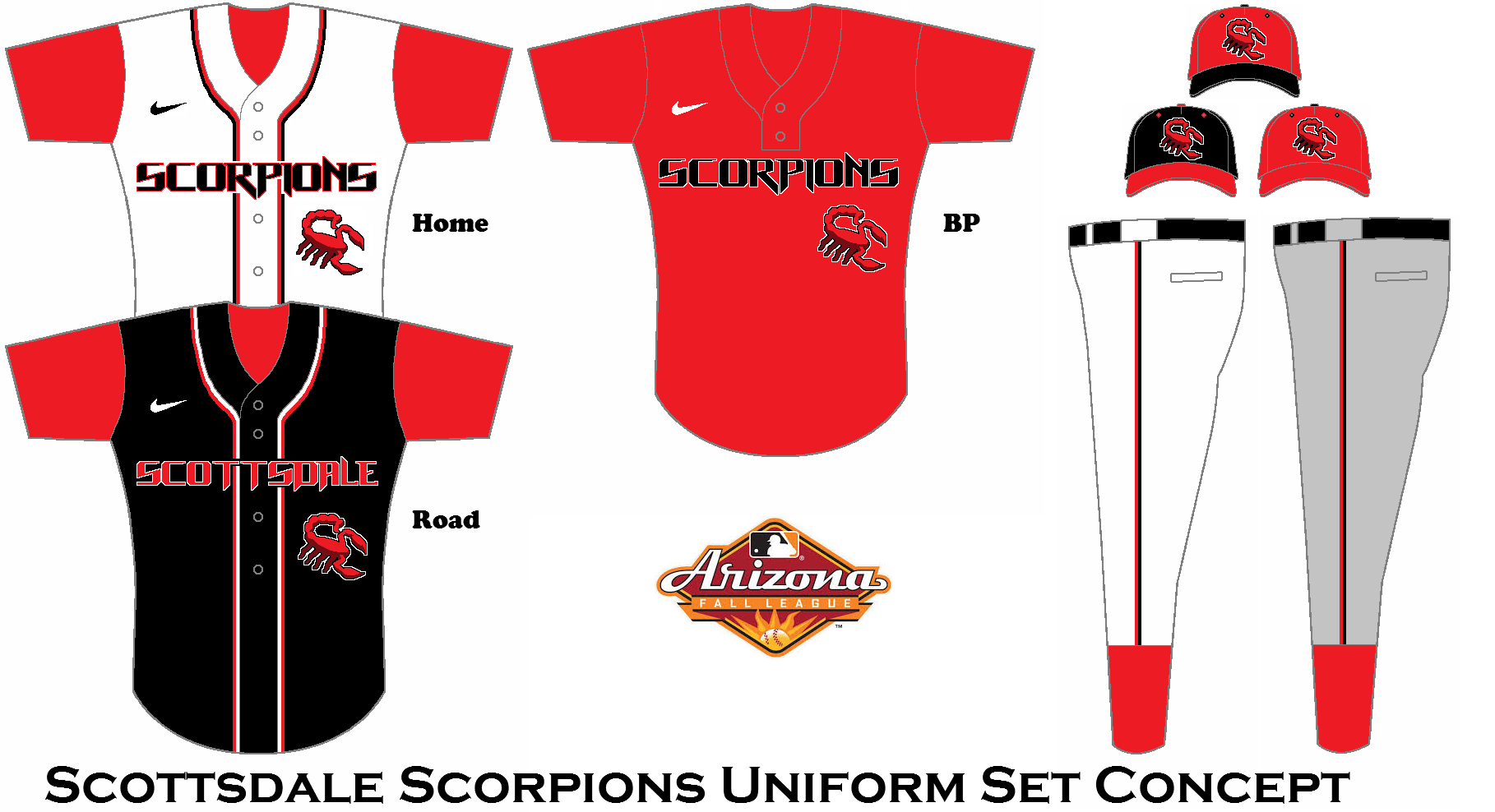 If Teams In The Arizona Fall League Had Team Uniforms Instead Of Wearing Mlb Affiliate Ones Scottsdale Scorpions Uniform S Arizona Falls Team Uniforms Uniform