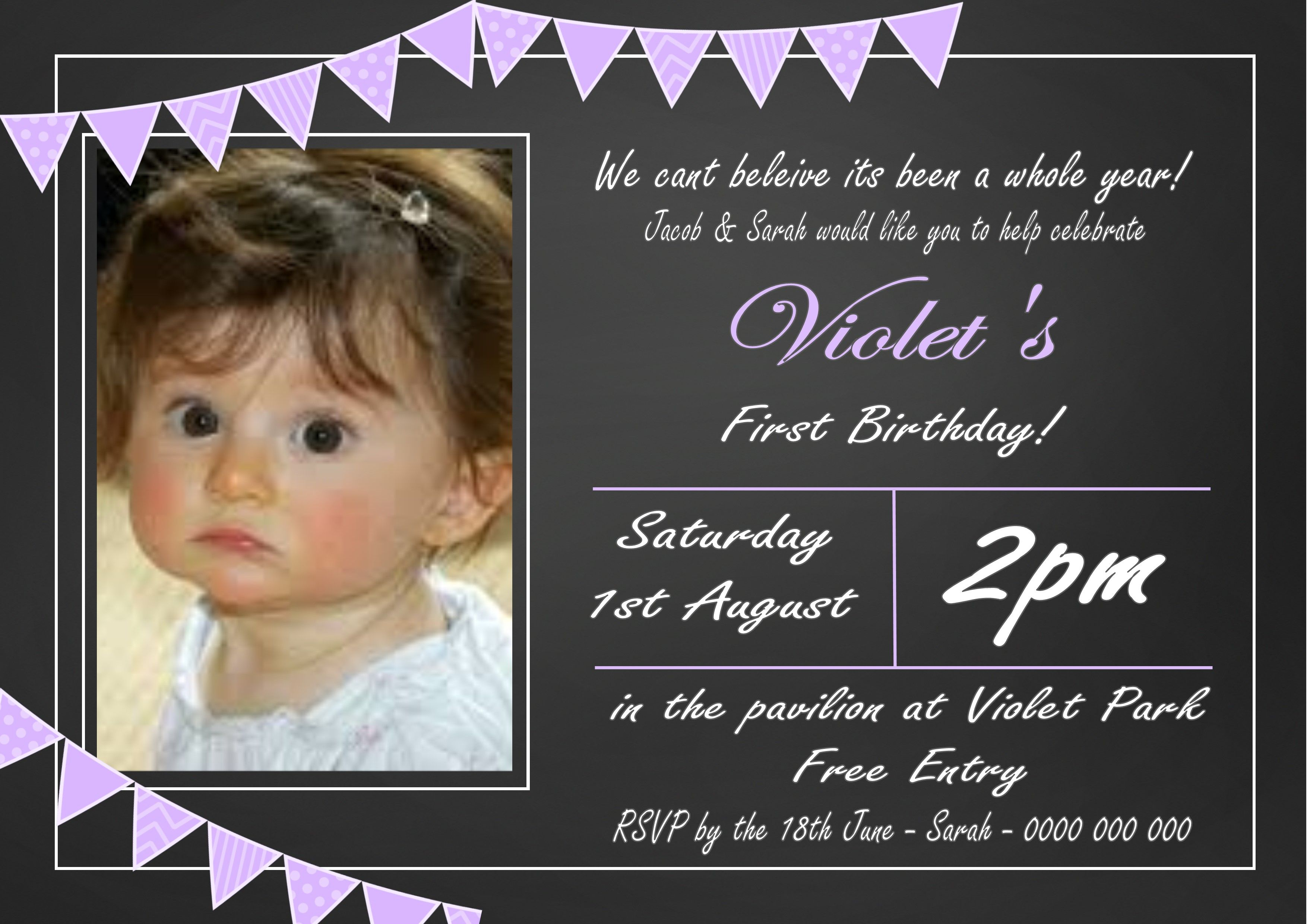 Chalkboard Birthday Invitation $12AUD emailed to you you print and