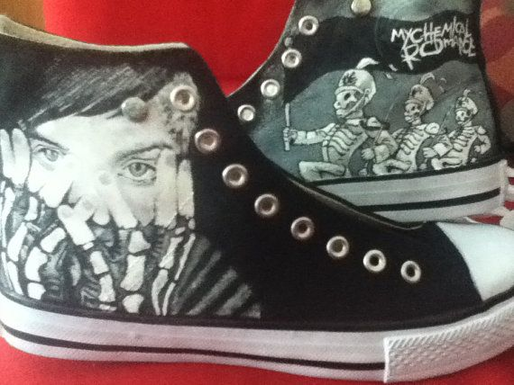 Hand Painted Hi Tops My Chemical Romance by andreabetteridge, $78.00--Dude these are so cool. #mychemicalromance #sneakers #converse