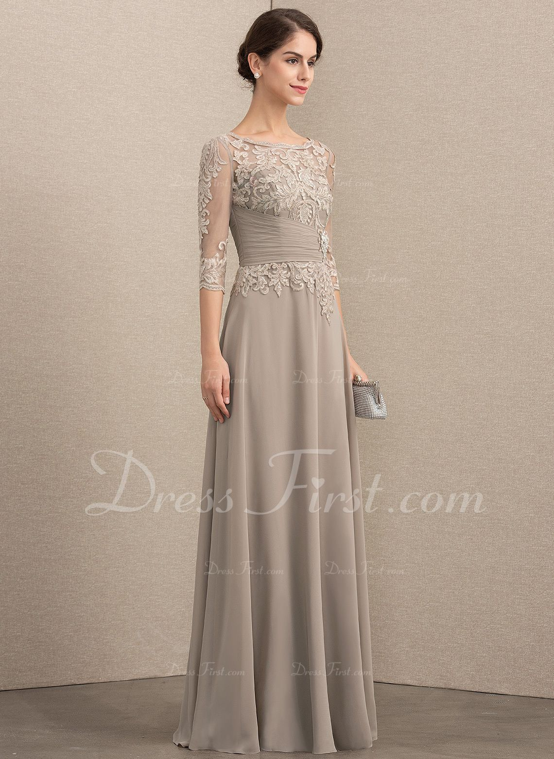 488a1611536 A-Line Princess Scoop Neck Floor-Length Chiffon Lace Mother of the Bride  Dress With Crystal Brooch Sequins (008164108) - Mother of the Bride Dresses  - ...
