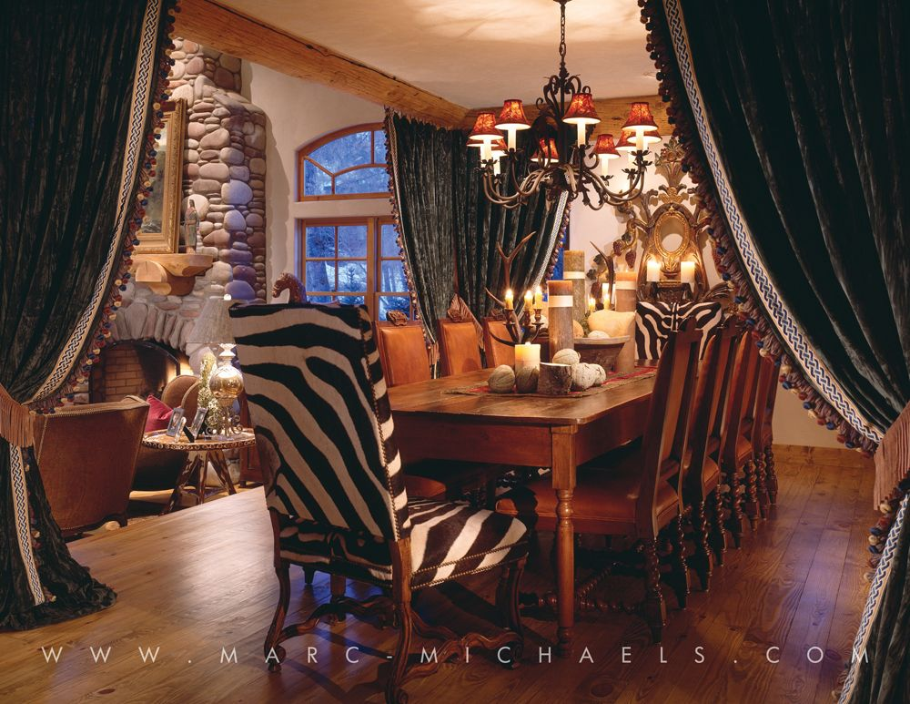 Rustic Lodge Dining Room Wooden Table Zebra Chair Vail Simple Zebra Dining Room Chairs Design Decoration