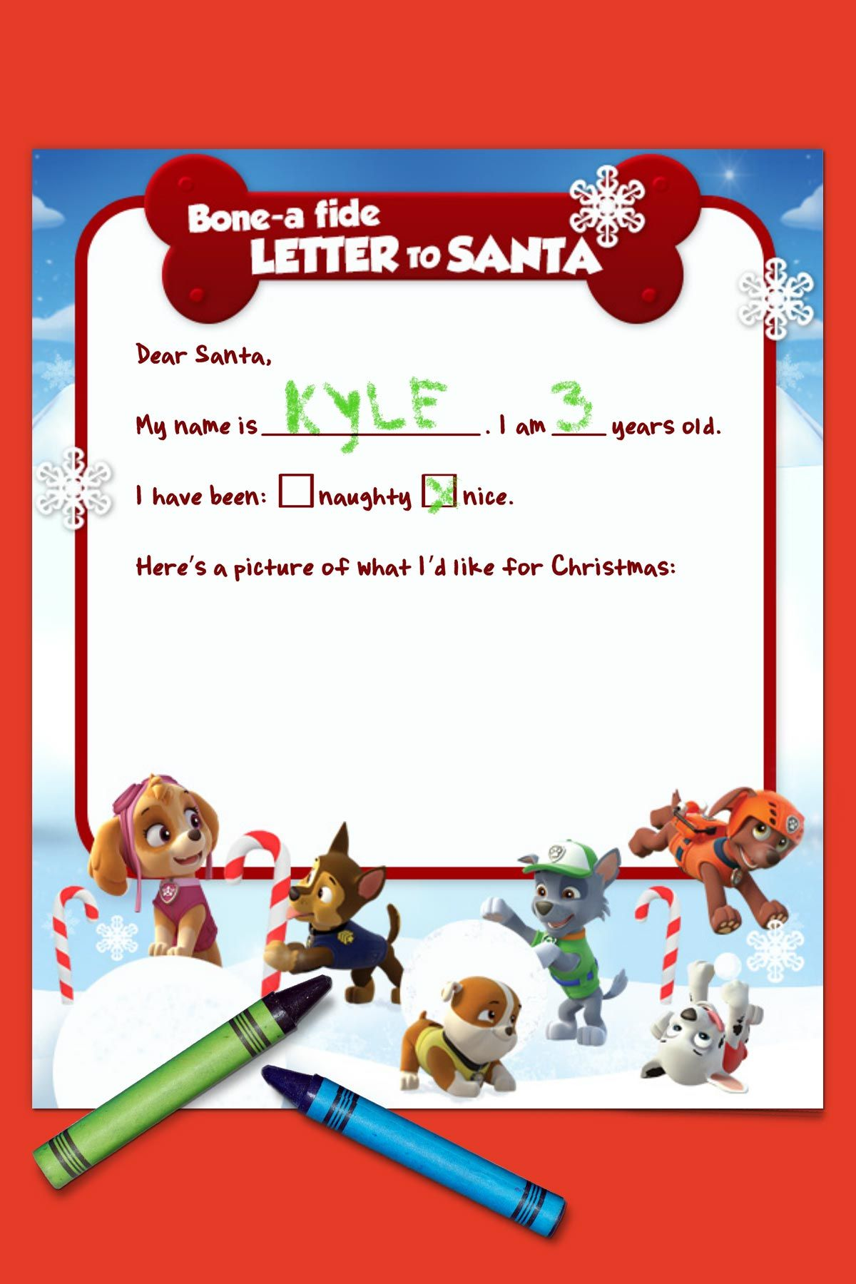 Paw Patrol Letter To Santa  Paw Patrol Santa And Birthdays